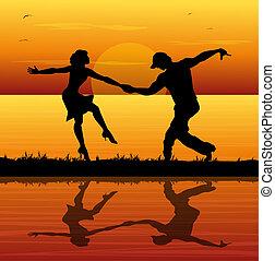 plage, danseurs, coucher soleil