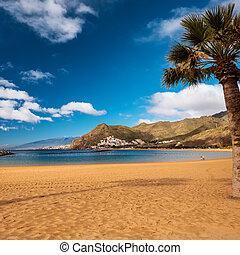 plage, de, tenerife, playa, las, teresitas