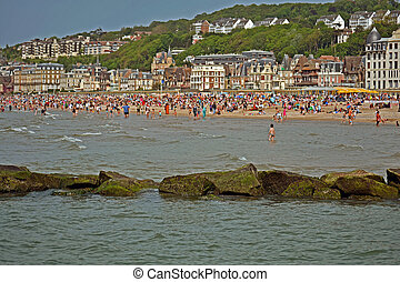 plage, de, trouville, normandie, france