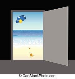 plage, derrière, vecteur, porte, illustration