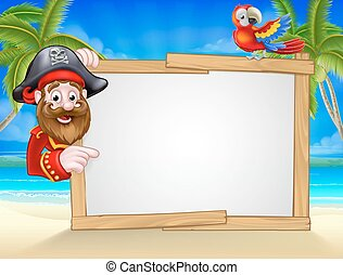 plage, dessin animé, fond, pirate