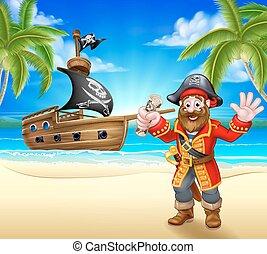plage, dessin animé, pirate