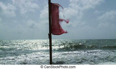 plage, drapeaux, avertissement