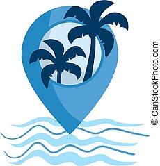 plage, emplacement, icône