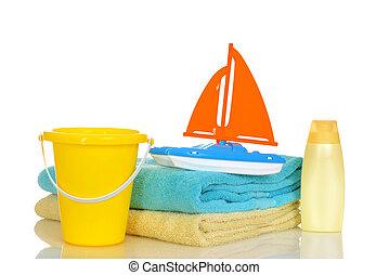 plage, enfant, jouets, serviettes
