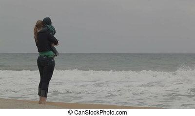 plage., enfant, mer, mère