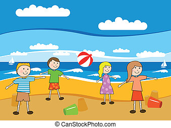 plage, enfants
