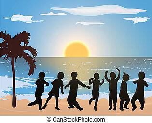 plage, enfants, danse