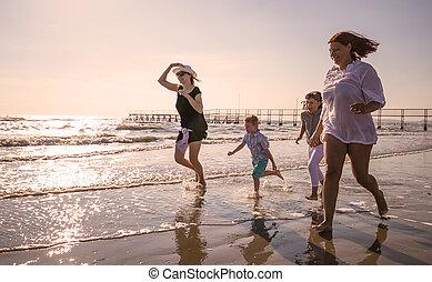 plage, enfants, mer, jeu mère