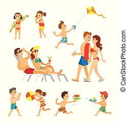 plage, enfants, parents, jouer, gens