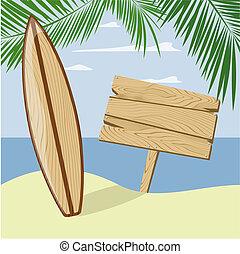 plage, enseigne, planche surf