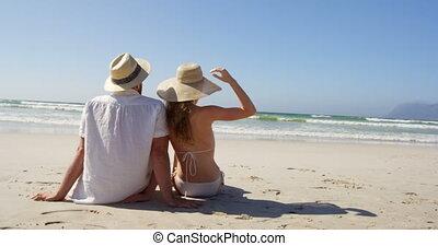 plage, ensemble, délassant, 4k, couple