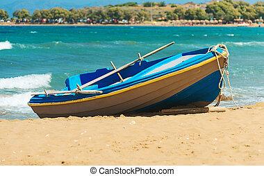 plage., espace, bois, text., ton, bateau