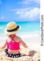 plage, exotique, confection, girl, peu, sable, blanc, château