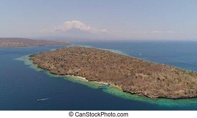 plage, exotique, indonesia., bali, vue, île, aérien, menjangan., beau