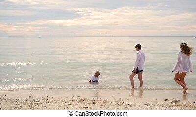 plage., famille, île, repos, exotique, enfant