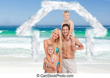 plage, famille heureuse