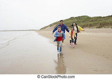 plage, famille, heureux