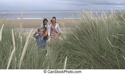 plage, famille, partir