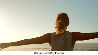 plage, femme, 4k, exercisme