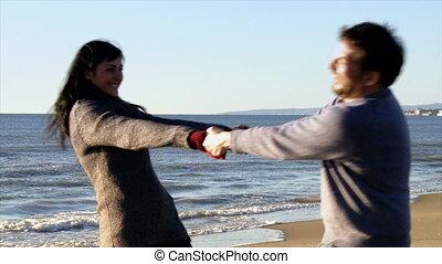 plage, femme, amour, jouer, homme