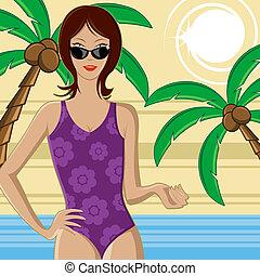 plage, femme