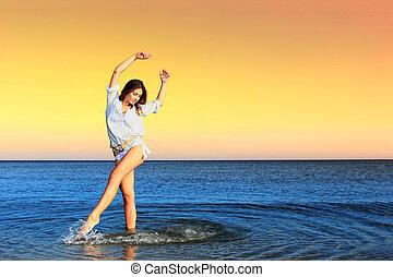 plage., femme