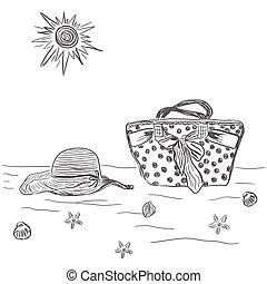 plage, femme, sac, chapeau, vecteur