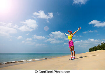 plage, femme, sport, heureux