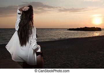 plage, femmes