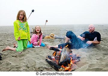 plage, feu camp