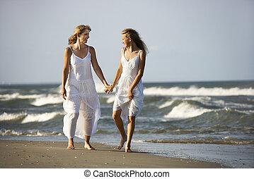 plage., fille, mère