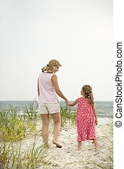 plage., fille, maman