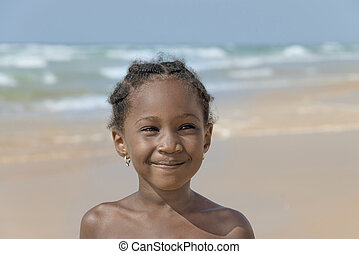 plage, fille souriant