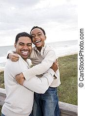 plage, fils, père, rire, african-american