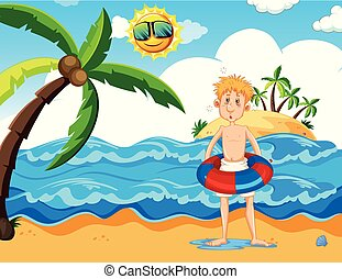 plage, floaty, homme