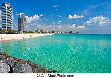 plage, floride, miami, sud