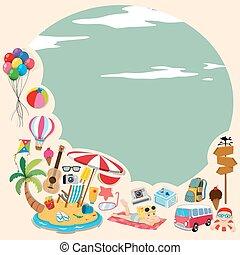plage, frontière, objets, conception