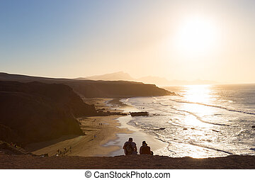 plage, fuerteventura, pared, espagne, îles canaries
