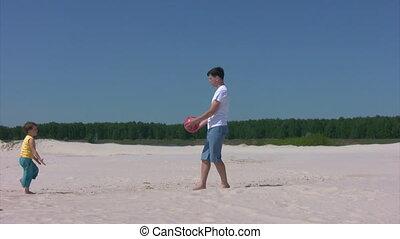 plage, garçon, balle, jeux, homme
