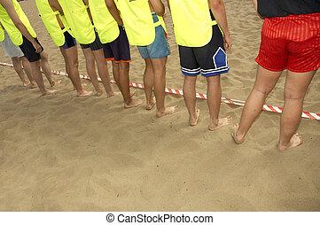 plage, garçons, équipe