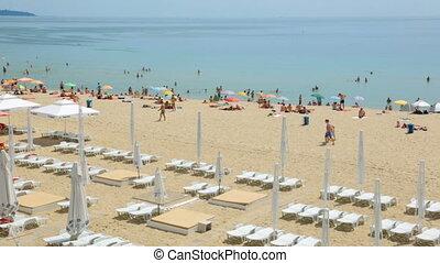 plage, gens, jour, été