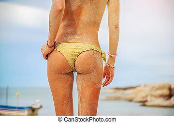 plage, girl, closeup