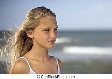 plage, girl, ocean.