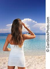 plage, girl