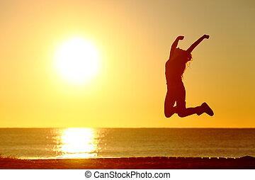 plage, girl, sauter, coucher soleil, heureux