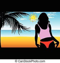 plage, girl, silhouette, illustration