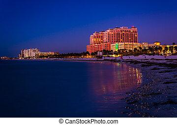 plage, golfe, mexique, clearwater, nuit, long, fl, hôtels