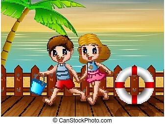 plage, gosses, amusement, avoir