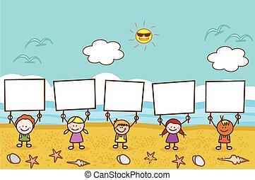 plage, gosses, bannière, tenue, heureux